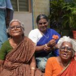 Enjoying the aftenoon sun in front of Om Shanthi Home.
